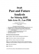 Past and Future Analysis for Mekong BDP, Sub Area 1L, Lao PDR