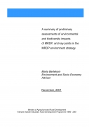 A Summary of Preliminary Assessments of Environmental and Biodiversity Impacts of MRDP, and Key Points in the MRDP Environment Strategy