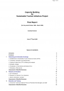 Capacity Building for Sustainable Tourism Initiatives Project, Final Report (for the period October 1999   March 2000),