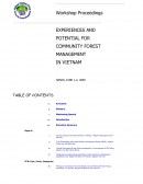 Workshop Proceedings, Experiences and Potential for Community Forest Management in Vietnam, Hanoi, June 1 2, 2000